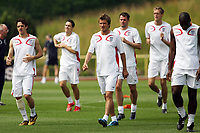 Photo: Chris Ratcliffe.<br />England Training Session. FIFA World Cup 2006. 29/06/2006.<br />David Beckham leads the team in training.