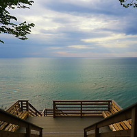 """""""Heading Down to the Beach""""<br /> <br /> Enjoy the vast expanse of Lake Michigan near South Haven as viewed from layers of stairs heading down to the beach."""