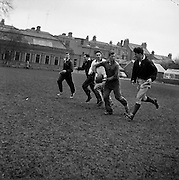 Scottish captain, Smith, with ball, passes to Waddell, on the right,..Irish Rugby Football Union, Ireland v Scotland, Five Nations, Scottish team practice at college park, Dublin, Ireland, Friday 23rd February, 1962,.23.2.1962, 2.23.1962,..  Scottish Team, ..K J F Scotland, Wearing number 15 Scottish jersey,  Full Back, Leicester Rugby Football Club, Leicester, England, ..R C Cowan, Wearing number 11 Scottish jersey,  Left Wing, Selkirk Rugby Football Club, Selkirk, Scotland, ..I H P Laughland, Wearing number 12 Scottish jersey, Left Centre, London Scottish Rugby Football Club, Surrey, England, ..J J McPartlin, Wearing number 13 Scottish jersey,  Right Centre, Oxford University Rugby Football Club, Oxford, England,..A R Smith, Wearing number 14 Scottish jersey, Captain of the Irish team,  Right Wing, Edinburgh University Rugby Football Club, Edinburgh, Scotland, ..G H Waddell, Wearing number 10 Scottish jersey,  Stand Off, London Scottish Rugby Football Club, Surrey, England, ..S Coughtrie, Wearing number 9 Scottish jersey,  Scrum Half, Edinburgh Academical Rugby Football Club, Edinburgh, Scotland, ..H F McLeod, Wearing number 1 Scottish jersey,  Forward,  Hawick Rugby Football Club, Hawick, Scotland, ..N S Bruce, Wearing number 2 Scottish jersey,  Forward, London Scottish Rugby Football Club, Surrey, England, ..R Steven , Wearing number 3 Scottish jersey, Forward, Edinburgh Wanderers Rugby Football Club, Edinburgh, Scotland, ..F H ten Bos, Wearing number 4 Scottish jersey,  Forward, London Scottish Rugby Football Club, Surrey, England, ..M J Campbell-Lamberton, Wearing number 5 Scottish jersey, Forward, Halifax Rugby Football Club, Yorkshire, England, ..R J C Glasgow, Wearing number 6 Scottish jersey,  Forward, Dunfermline Rugby Football Club, Fife, Scotland, ..J Douglas, Wearing number 8 Scottish jersey, Forward, Stewarts College Rugby Football Club, Edinburgh, Scotland, ..K I Ross, Wearing number 7 Scottish jersey, Forward, Boroughmuir Rugby Football Club, Edinbu