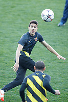 FC Barcelona´s Bartra  during a training at the Vicente Calderon stadium in Madrid, Spain. Atletico de Madrid will face FC Barcelona in the second leg quarterfinal Champions League soccer match.  April 8, 2014. (ALTERPHOTOS/Victor Blanco)