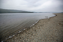 Pic of the small beach on the Loch where Alan Wright was involved in the with the emergency services. He took paramedics on his boat to try and rescue the boy who drowned on Sunday.