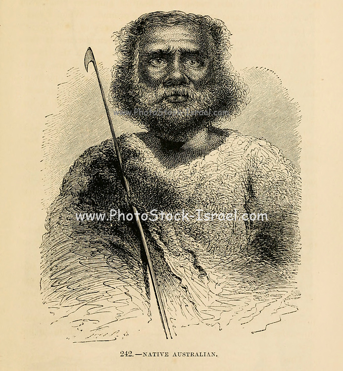 Portrait of a Native Australian engraving on wood From The human race by Figuier, Louis, (1819-1894) Publication in 1872 Publisher: New York, Appleton