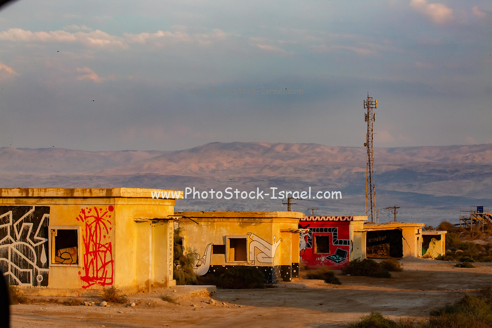 Abandoned and deserted army barracks and buildings at Kalya Beach, on the northern shore of the Dead Sea, Israel
