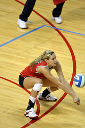 11 September 2007:  Danielle Meyer shovels out a dig. Ohio State Buckeyes bested the Illinois State Redbirds 3 games to 1 at Redbird Arena on the campus of Illinois State University in Normal Illinois.