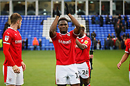 Barnsley defender Dimitri Cavare (12)  claps the fans after  the EFL Sky Bet League 1 match between Peterborough United and Barnsley at The Abax Stadium, Peterborough, England on 6 October 2018.