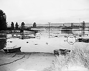 Y-480530-07. Flooded highway entrance, Vanport. May 30, 1948.