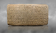 Hittite sculpted Orthostats panel from the  Long Wall.  Limestone, Kargarmis, Gaziantep, 900 - 700 BC,  Hieroglyph. Anatolian Civilisations Museum, Ankara, Turkey.<br /> <br /> In the epigraph with hieroglyph, he narrates that the gods were provoked against him, the account of the cities conquered and the spoils of war; that he allocated a share for the gods, and that he instigated the mighty king Tarhunza and the other gods. In the other lines, he demands that people should present offerings to statues but should evil-intentioned people be among them, such person individuals be punished by the gods.  <br /> <br /> On a grey art background. .<br />  <br /> If you prefer to buy from our ALAMY STOCK LIBRARY page at https://www.alamy.com/portfolio/paul-williams-funkystock/hittite-art-antiquities.html  - Type  Karkamıs in LOWER SEARCH WITHIN GALLERY box. Refine search by adding background colour, place, museum etc.<br /> <br /> Visit our HITTITE PHOTO COLLECTIONS for more photos to download or buy as wall art prints https://funkystock.photoshelter.com/gallery-collection/The-Hittites-Art-Artefacts-Antiquities-Historic-Sites-Pictures-Images-of/C0000NUBSMhSc3Oo