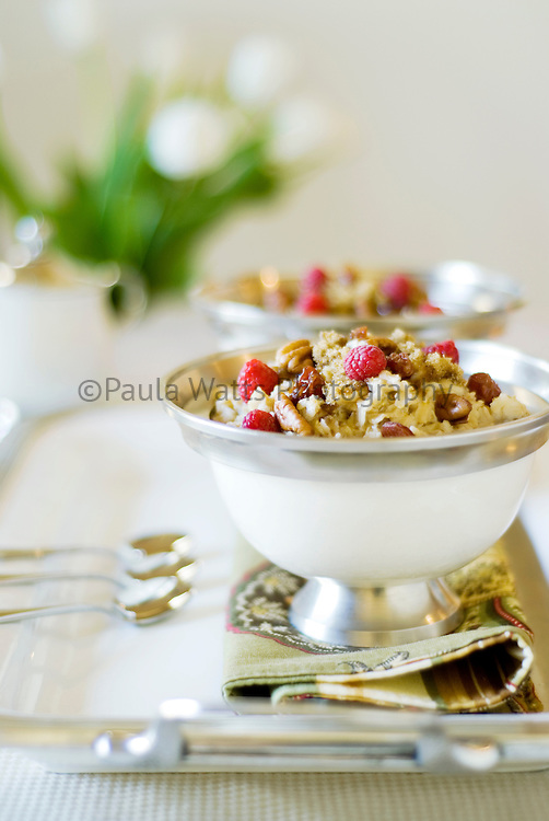 Healthy breakfast granola on a serving tray