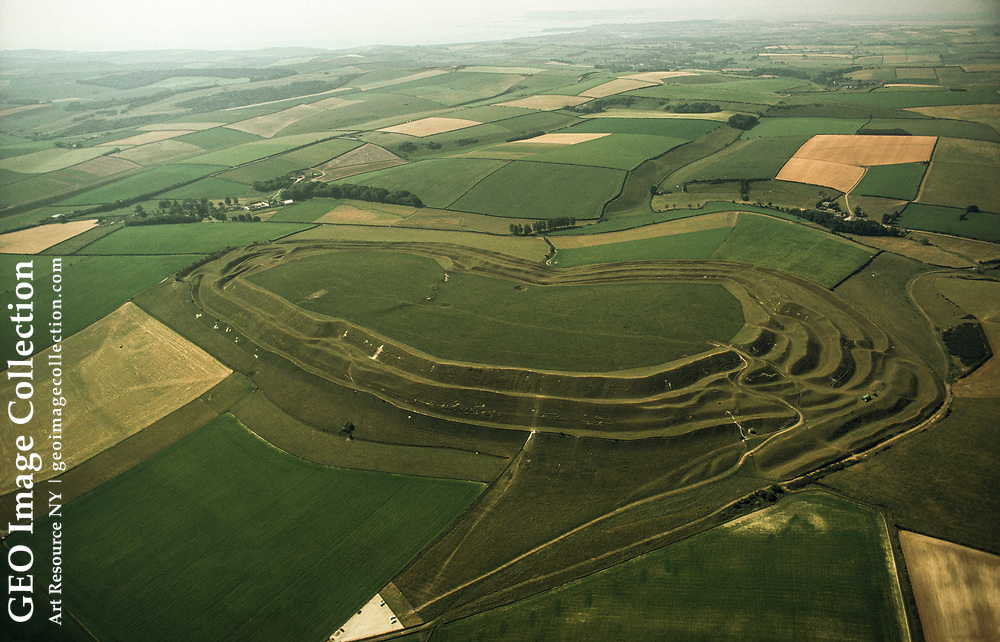 An aerial view of Maiden Castle, which once sheltered 5,000 Celts.