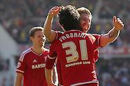 Middlesbrough celebrate \Middlesbrough forward, on loan from Watford, Diego Fabbrini goal during the Sky Bet Championship match between Middlesbrough and Leeds United at the Riverside Stadium, Middlesbrough, England on 27 September 2015. Photo by Simon Davies.