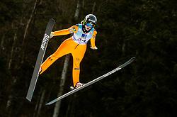 Nika Kriznar of Slovenia soaring through the air during 1st Round at Day 1 of World Cup Ski Jumping Ladies Ljubno 2019, on February 8, 2019 in Ljubno ob Savinji, Slovenia. Photo by Matic Ritonja / Sportida
