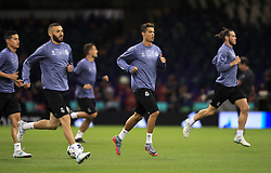 Real Madrid's Cristiano Ronaldo (centre) during a training session held at the National Stadium in Wales ahead of tomorrow's UEFA Champions League Final against Juventus