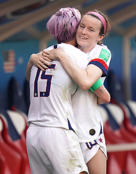 USA's Megan Rapinoe and Rose Lavelle celebrate after the final whistle