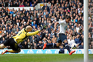 Tottenham Hotspur's Paulinho scores the first goal of the game Barclays premier league match ,Tottenham Hotspur v Aston Villa at White Hart Lane in Tottenham, London  on Sunday 11th May 2014.<br /> pic by John Patrick Fletcher, Andrew Orchard sports photography.