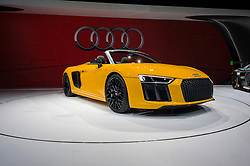 NEW YORK, USA - MARCH 23, 2016: Audi R8 Spyder on display during the New York International Auto Show at the Jacob Javits Center.