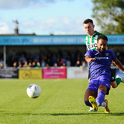 TELFORD COPYRIGHT MIKE SHERIDAN Brendon Daniels of Telford shoots during the National League North fixture between Blyth Spartans and AFC Telford United at Croft Park on Saturday, September 28, 2019<br /> <br /> Picture credit: Mike Sheridan<br /> <br /> MS201920-023