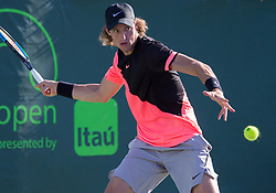 March 21, 2018 - Miami, Florida, United States - Nicolas Jarry, from Chile, in action during his first round match agains Cameron Norrie from Great Britain. Jarry won the match 7-6(3) - 6-2, in Miami, on March 21, 2018. (Credit Image: © Manuel Mazzanti/NurPhoto via ZUMA Press)