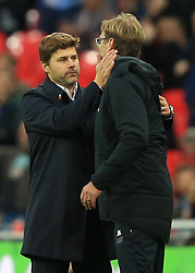 22 October 2017 -  Premier League - Tottenham Hotspur v Liverpool - Mauricio Pochettino manager / head coach of Tottenham Hotspur with Jurgen Klopp manager / head coach of Liverpool at full time - Photo: Marc Atkins/Offside