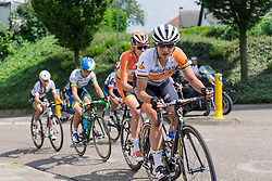 Marianne Vos leads an elite group on the approach to the first passage of the finish line at Boels Hills Classic 2016. A 131km road race from Sittard to Berg en Terblijt, Netherlands on 27th May 2016.