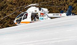 THEMENBILD - der gelandete Notarzthubschrauber Martin 1 (OE-XMM, MD Helicopters Explorer 902) während eines Rettungseinsatzes am Zwölferkogel in Hinterglemm, Oesterreich, aufgenommen am 28. Maerz 2017 // the Martin 1 (OE-XMM, MD Helicopters Explorer 902) Emergency Medical Helicopter during a emergency operation at the Zwoelferkogel Ski Resort in Hinterglemm, Austria on 2017/03/28. EXPA Pictures © 2017, PhotoCredit: EXPA/ JFK