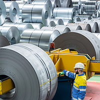 TATA Steel - Distribution Centre - NEUSS - Germany Steel coil warehouse and storage with workers