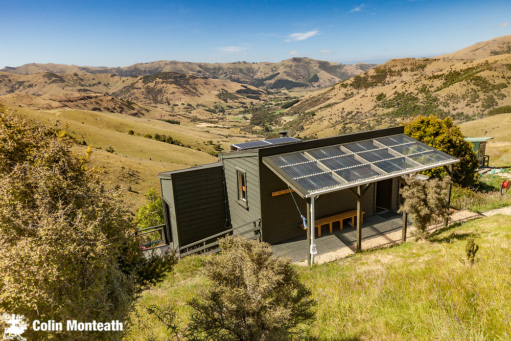 Rod Donald hut, tramping hut for walkers on Spine of the Lizard walkway, Banks Peninsula.