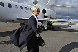 File Photo - French Minister for the Economy, Finance and Employment Christine Lagarde arrives at Gothenburg in Sweden on October 1rt, 2009 for a session of the informal ECOFIN meeting at the Eriksberghallen in Gothenburg. The European Council announced Tuesday that Lagarde, the current head of the International Monetary Fund, had been chosen to succeed Mario Draghi as president of the European Central Bank,, whose eight-year term ends in October. Photo by Elodie Gregoire/ABACAPRESS.COM