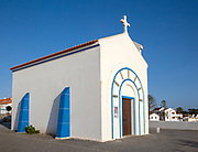 Small chapel on seafront at Zambujeira do Mar, Alentejo Littoral, Portugal, Southern Europe Capela de Nossa Senhora do Mar