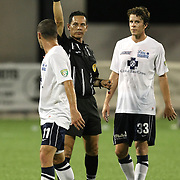 Harrisburg Midfielder Jason Hotchkin (11) is shown a yellow card during a United Soccer League Pro soccer match between the Harrisburg City Islanders and the Orlando City Lions at the Florida Citrus Bowl on August 12, 2011 in Orlando, Florida. The Orlando City won the match 4-0. (AP Photo/Alex Menendez)