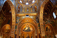 Byzantine mosaics at the Palatine Chapel ( Capella Palatina ) Norman Palace Palermo, Sicily, Italy. Christ above the Alter. .<br /> <br /> If you prefer you can also buy from our ALAMY PHOTO LIBRARY  Collection visit : https://www.alamy.com/portfolio/paul-williams-funkystock/byzantine-art-antiquities.html . Type -    Palatine     - into the LOWER SEARCH WITHIN GALLERY box. Refine search by adding background colour, place, museum etc<br /> <br /> Visit our BYZANTINE MOSAIC PHOTO COLLECTION for more   photos  to download or buy as prints https://funkystock.photoshelter.com/gallery-collection/Roman-Byzantine-Art-Artefacts-Antiquities-Historic-Sites-Pictures-Images-of/C0000lW_87AclrOk