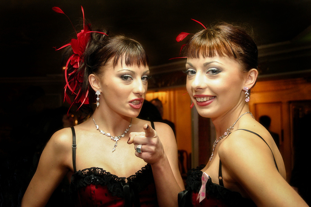 """Cheeky Girls, at the  Breast Cancer Awareness Month, """"The Pink Ribbon Ball."""" The Dorchester, 2004, London"""