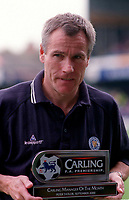 Peter Taylor the Leicester Manager with his Manager of the month award. Leicester City v Manchester United. FA Premiership, 14/10/00. Credit: Colorsport / Andrew Cowie.