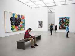 Interior of gallery at Pinakothek Moderne art museum in Munich Germany