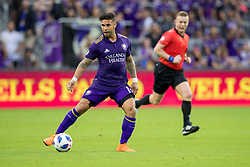 May 13, 2018 - Orlando, FL, U.S. - ORLANDO, FL - MAY 13: Orlando City forward Dom Dwyer (14) with the ball during the soccer match between the Orlando City Lions and Atlanta United on May 13, 2018 at Orlando City Stadium in Orlando, FL. (Photo by Joe Petro/Icon Sportswire) (Credit Image: © Joe Petro/Icon SMI via ZUMA Press)