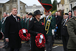 First Minister Arlene Foster holds a wreath at a Remembrance Sunday service at the Cenotaph in Enniskillen, held in tribute for members of the armed forces who have died in major conflicts.