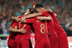 June 7, 2018 - Lisbon, Portugal - Portugal's forward Goncalo Guedes celebrates with teammates after scoring his second goal during the FIFA World Cup Russia 2018 preparation football match Portugal vs Algeria, at the Luz stadium in Lisbon, Portugal, on June 7, 2018. (Portugal won 3-0) (Credit Image: © Pedro Fiuza/NurPhoto via ZUMA Press)