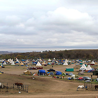 The Oceti Sakowin Camp in Standing Rock, shown October 11, fluctuates n population as protestors filter in and out of the Dakota Access Pipeline protest camp.