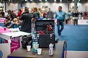Accessoires of dog owners at the Leipzig Trade Fair. Over 31,000 dogs from 73 nations will come together from 8-12 November 2017 in Leipzig for the biggest dog show in the world.