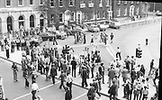 Women's Peace March In Dublin  (K50)..1976..28.08.1976..08.28.1976..28th August 1976..As part of the Peace Movement, set up by Ms Betty Williams and Ms Mairead Maguire in Northern Ireland, a march was organised for Dublin. Thousands of women took part in the march from St Stephen's Green, Dublin to the seat of government in Leinster House on Merrion Square, Dublin, to protest the continuing violence within the country..Image shows a side march protesting against the death penalty which had been imposed on Noel and Marie Murray in relation to the shooting dead of Garda Michael Reynolds in Killester, a suburb in Dublin.