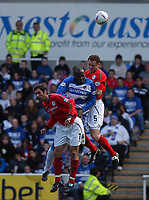 Photo:Alan Crowhurst.<br /> READING V CREWE, Nationwide Division One,17/04/2004.Lloyd Owusu is sandwiched between Neil Sorvel and Adi Moses.