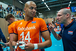 12-06-2019 NED: Golden League Netherlands - Estonia, Hoogeveen<br /> Fifth match poule B - The Netherlands win 3-0 from Estonia in the series of the group stage in the Golden European League / Nimir Abdelaziz #14 of Netherlands, Coach Roberto Piazza of Netherlands
