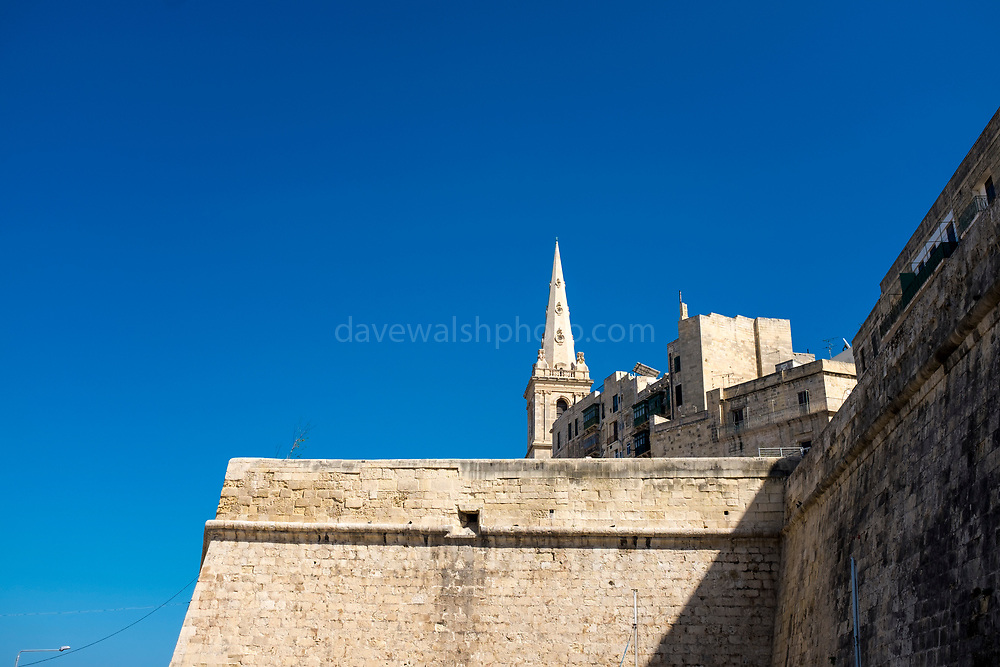 Saint Paul's Pro-Cathedral and city walls, Valletta, Malta