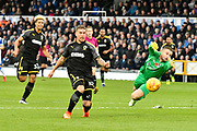 Cody McDonald (10) of AFC Wimbledon rounds Adam Smith (21) of Bristol Rovers before shooting wide of an open goal during the EFL Sky Bet League 1 match between Bristol Rovers and AFC Wimbledon at the Memorial Stadium, Bristol, England on 18 November 2017. Photo by Graham Hunt.
