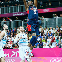 06 August 2012: USA Kevin Durant dunks the ball during 126-97 Team USA victory over Team Argentina, during the men's basketball preliminary, at the Basketball Arena, in London, Great Britain.