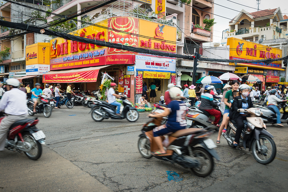 Motorbike traffic at an intersection in Saigon