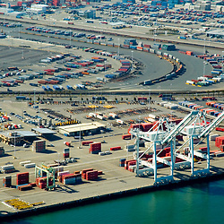 aerial view of Shipping Containers at the port of oakland, California