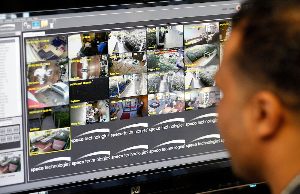 The manager looks at the required video surveillance cameras feed in a medical marijuana center in Denver April 2, 2012.  With Colorado voters set in November to decide whether to defy the federal government and legalize marijuana for recreational use under state law, the enforcement division could play a key role in bringing a black market pot trade out of the shadows.  REUTERS/Rick Wilking (UNITED STATES)