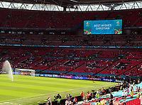 Football - 2021 EUFA European Championships - Finals - Group D - England vs Croatia, Wembley Stadium<br /> <br /> The scoreboard wishes Christian Erikson all the best in his recovery after collapsing at the Denmark v Finland game the day before<br /> <br /> Credit : COLORSPORT/Andrew Cowie