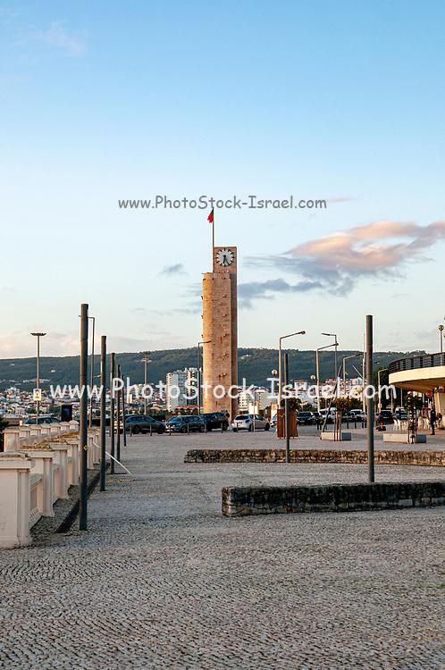 Clock tower on the beach promenade in Figueira da Foz, Portugal