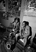 Fela Kuti with Sandra Izsadore -  backstage at the Shrine - Lagos - 1978